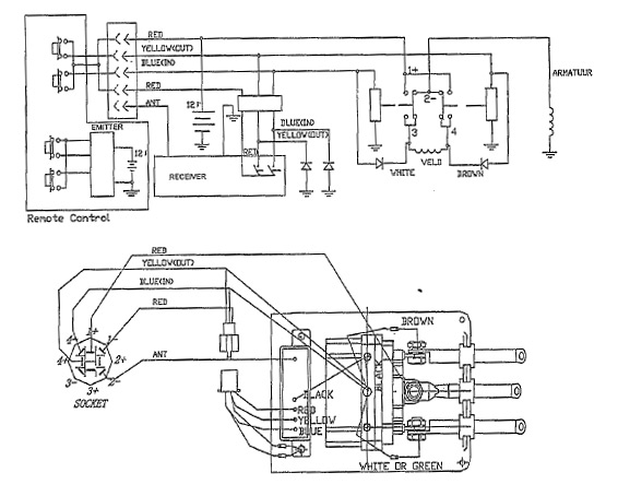 electrical circuit diagram for a cordless remote control