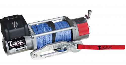 T-Max 9000lb 12v Electric Winch Spooled with Synthetic Rope