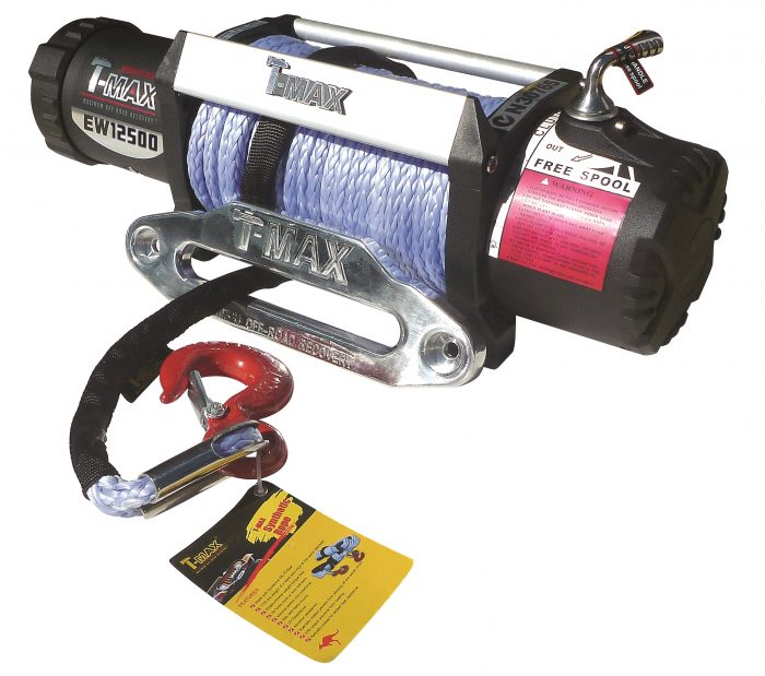 T-Max X-Power Series IP67 Waterproof/Dustproof 12500lb 12v Electric Winch Spooled with Synthetic Rope
